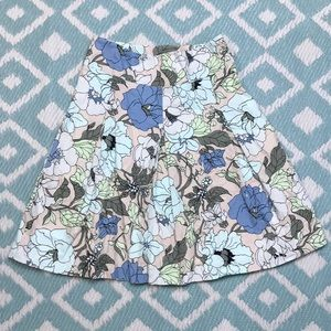 Talbots sz 4P Cream Blue Pleated Floral Skirt